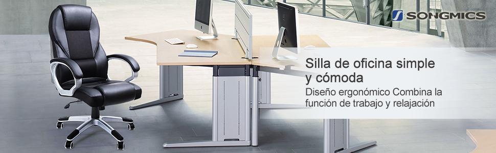 SONGMICS Silla giratoria de oficina estudio Ergonómica PU con ...