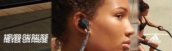 Never on pause, adidas FWD-01, adidas headphones, grey in-ear headphones, in-ear headphones