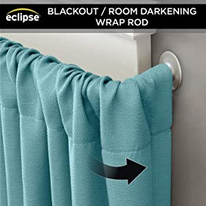 Amazoncom Eclipse 58 Room Darkening Wrap Around Curtain Rod 28