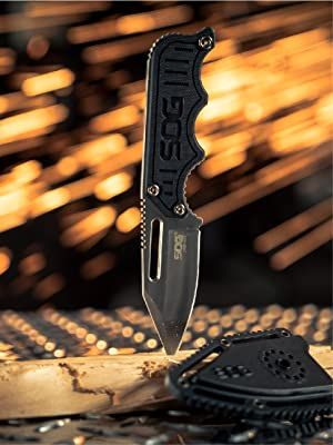 SOG Small Fixed Blade Knife - Instinct Boot Knife, EDC Knife, Neck Knife, 2.3 Inch Full Tang Blade w/ Knife Sheath and Clip