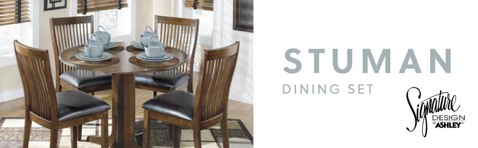Amazon Com Signature Design By Ashley Stuman Dining Room Drop Leaf Table Medium Brown Furniture Decor