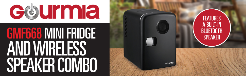 Gourmia GMF668 Mini Fridge Cooler /& Warmer with Bluetooth Speaker 4 Liter//6 Can