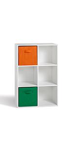 Compo 6 Casiers Meuble de Rangement Etagères Cubes Blanc