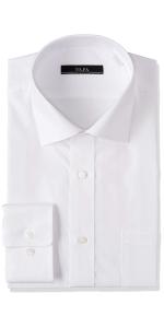 スリムモデル イージーケア 長袖白セミワイドカラーワイシャツ1枚売り
