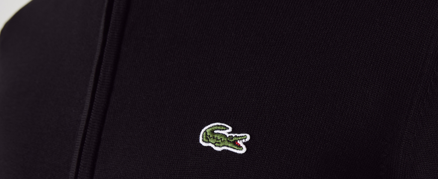 Lacoste black zip jumper stand-up collar detail