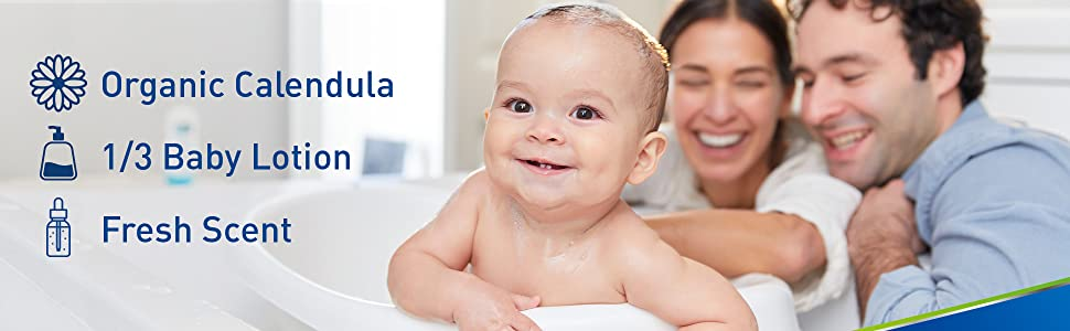 Cetaphil Gentle Wash contains organic calendula, made of 1/3 baby lotion and has a fresh fragrance