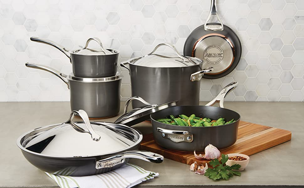 pots and pans, cookware, nonstick cookware, hard anodized cookware, anolon, anolon cookware