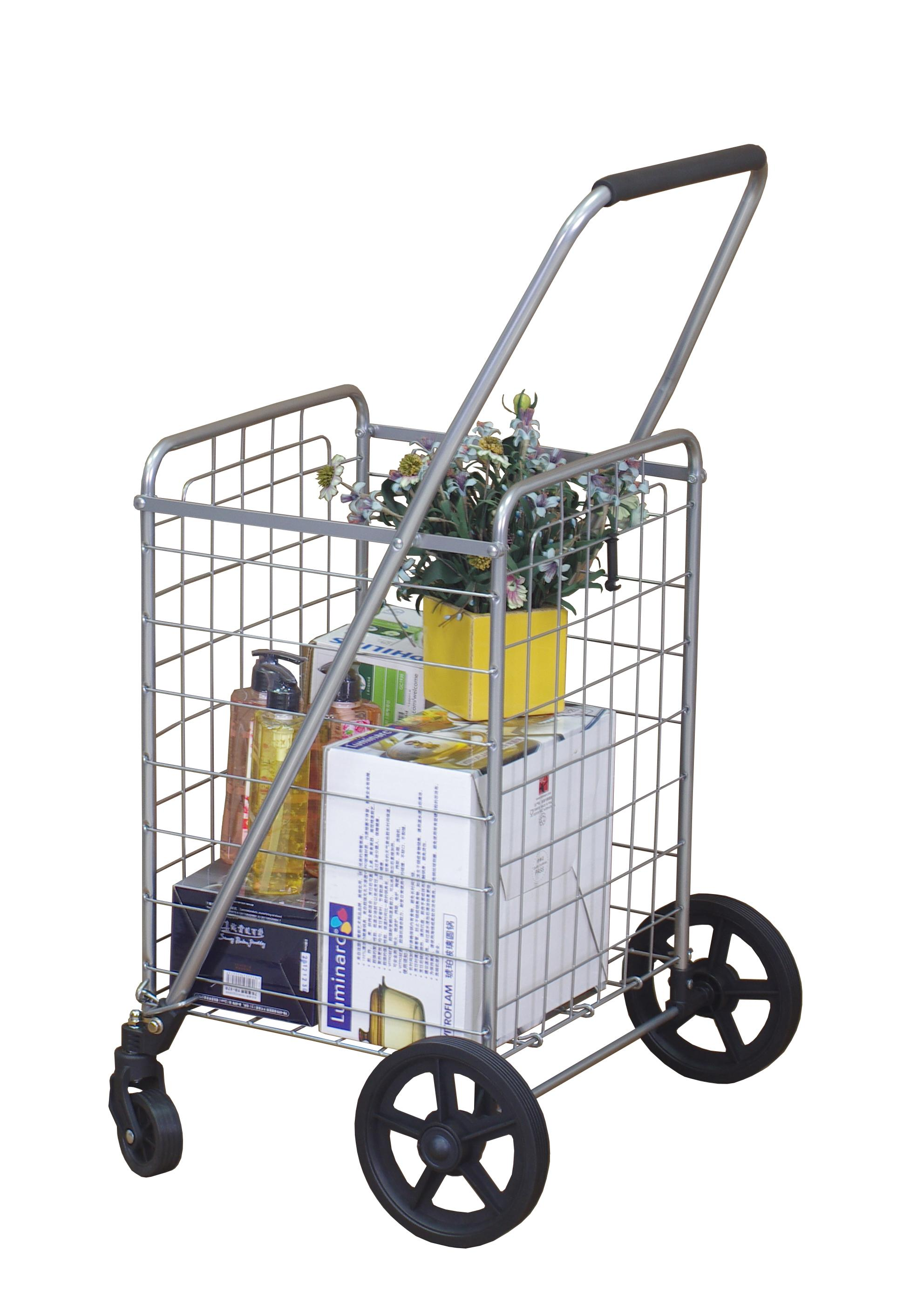 wellmax wm99024s grocery utility shopping cart easily collapsible and portable to save space heavy duty light weight trolley with rolling swivel wheels