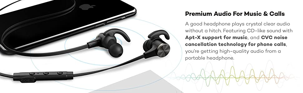 Latest Bluetooth 4.1 technology; aptX codec provides pure,CD-like high quality sound for compatible