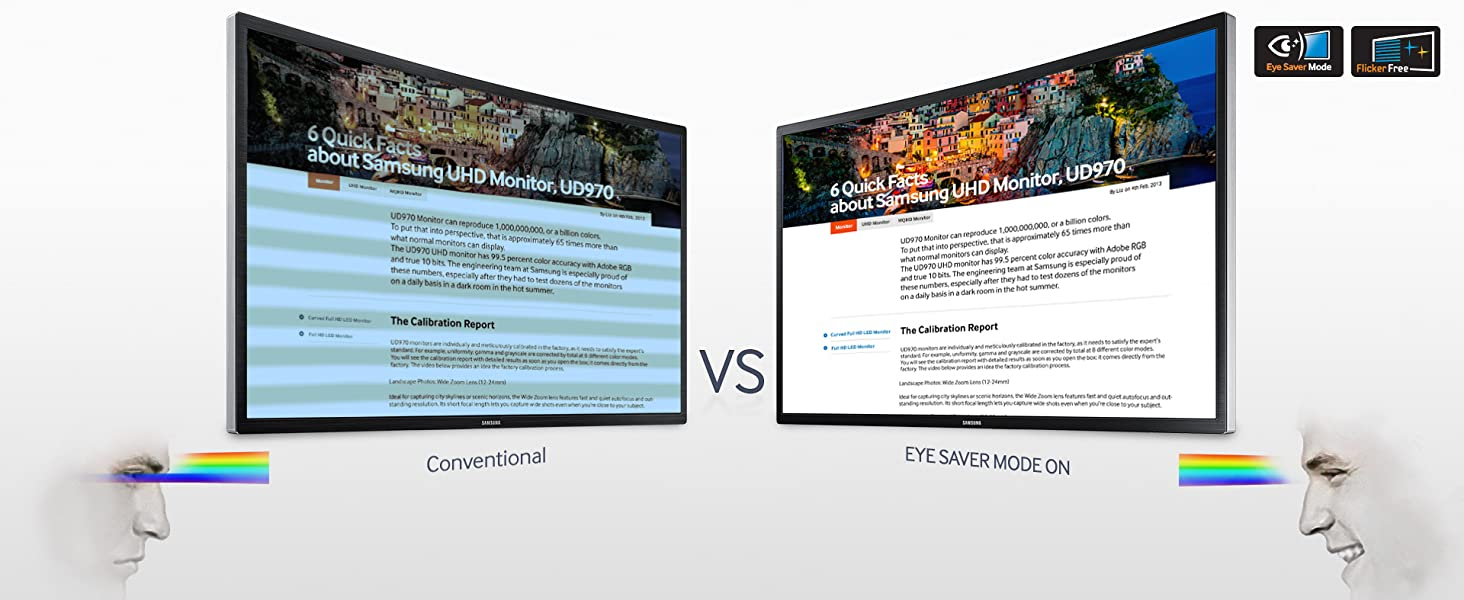Eye Saver Mode and Flicker-Free Technology Comparison between Samsung and a conventional Monitor