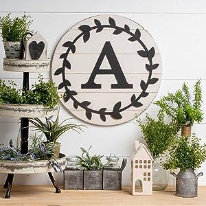 "Shiplap Wreath Leaf Circle Monogram ""A"""