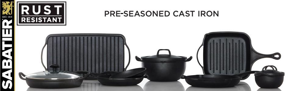 10.5-Inch Sabatier Pre-Seasoned Rust Resistant Square Grill Pan
