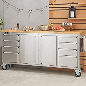 Awe Inspiring Stainless Steel Rolling Rubberwood Top Workbench Gmtry Best Dining Table And Chair Ideas Images Gmtryco