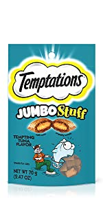 Temptations Jumbo Stuff Cat Treats, Low Calorie, Tartar Control Cat Treats, Healthy