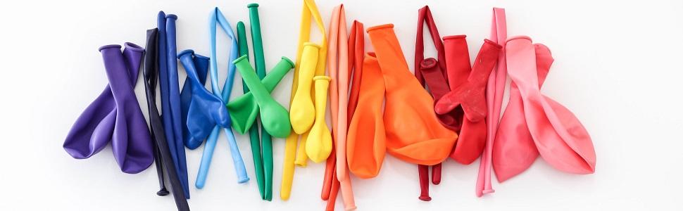latexballons, ballons, ballon, Mehrfarbig, blau, gelb, grün, orange, rot, pink