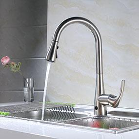 Biobidet Flow Motion Sensor Kitchen Faucet Brushed Nickel