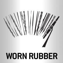Worn rubber on a wiper blade