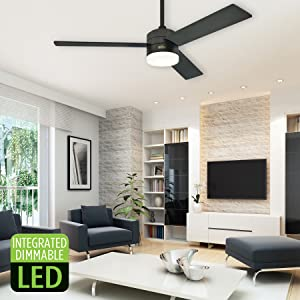 Westinghouse Lighting 7205900 Alta Vista 52-Inch Matte Black Dimmable LED Light Kit with Opal Frosted Glass Remote Control Included Indoor Ceiling Fan,