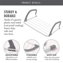 HOUZE - Wall Hanging Radiator Drying Airer (Large) : Sturdy & Durable Drying Airer