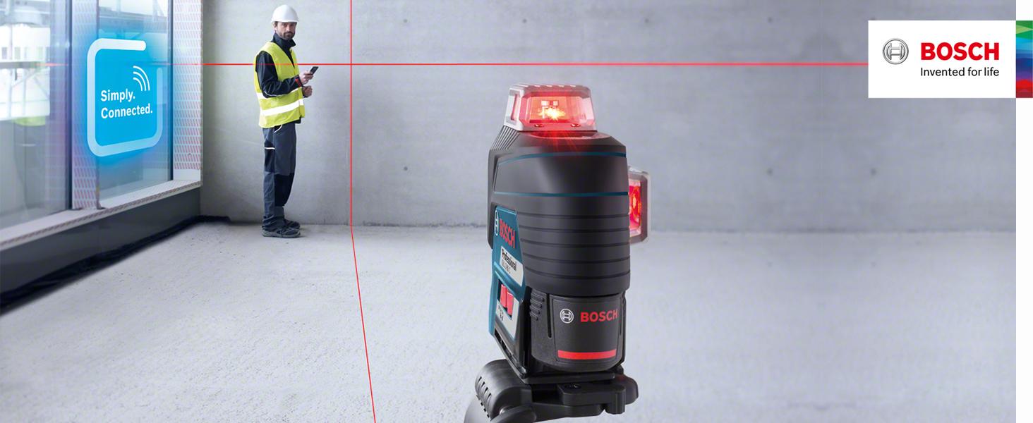 Bosch Professional Sistema 12V Nivel L/áser GLL 3-80 C sin bater/ía ni cargador, l/áser rojo, conexi/ón Bluetooth, alcance hasta 30/m, soporte universal BM1, en L-BOXX