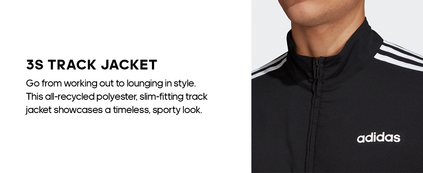 adidas Mens Essentials 3-Stripes Tricot Track Jacket