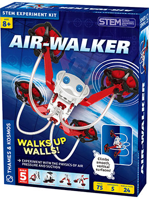 walks up walls, smooth surfaces, science kit, STEM, model building, physics, geckobot