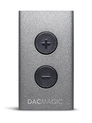 Front view of portable dac headphone amp in titanium silver with back buttons