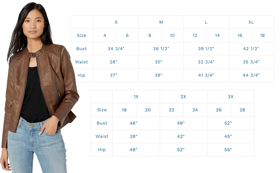 biker jacket faux leather size chart plus size