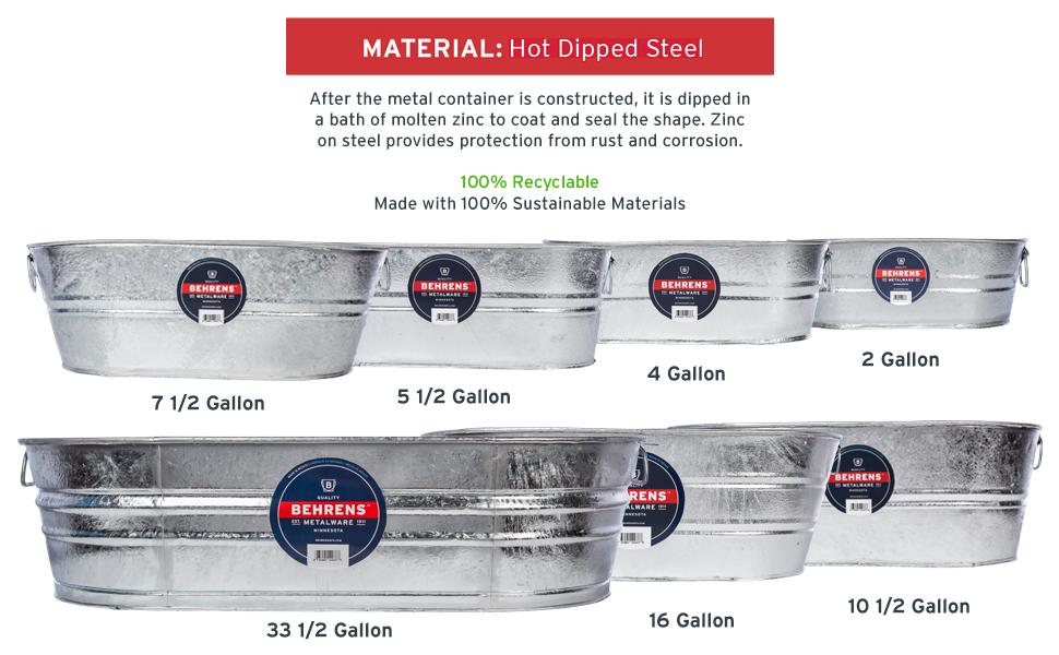 Behrens High Grade Steel 3-OV 16 Gallon Hot Dipped Galvanized Steel Oval Tub