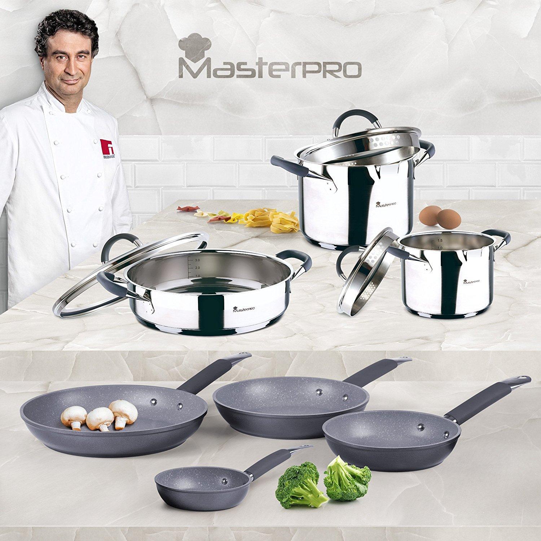 Set de 4 utensilios de cocina, 35 cms., cabezal nylon limpio y resistente, acero inoxidable