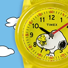 Timex TW2R41500 Time Machines Peanuts Yellow Woodstock & Snoopy Watch
