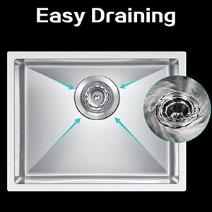 BATH MASTER Kitchen Sink 17-Inch 18 Gauge Stainless Steel Single Bowl Undermount Drop In Bar Sink with Drain Strainer Kit 17/'/'x17/'/'x 9 SR1717