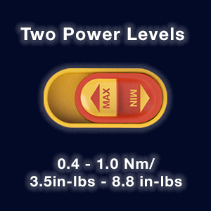 The SpeedE II now features two power levels (0.4 Nm - 1.0 Nm or 3.5 in-lbs - 8.8 in-lbs).