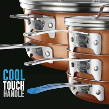 cool touch handle, stack master, stack cookware, Gotham