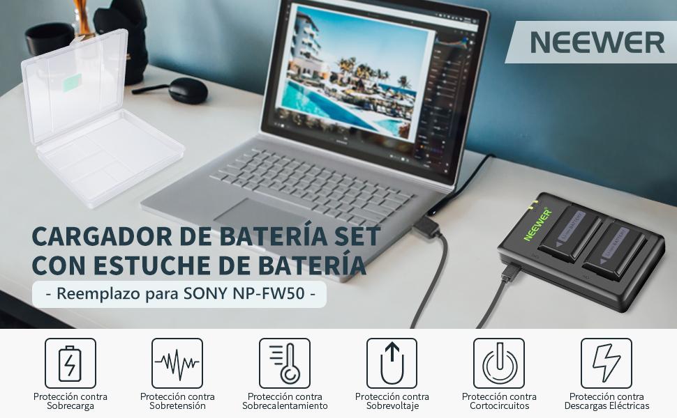 Neewer NP-FW50 Set Cargador Batería para Cámara con Estuche ...