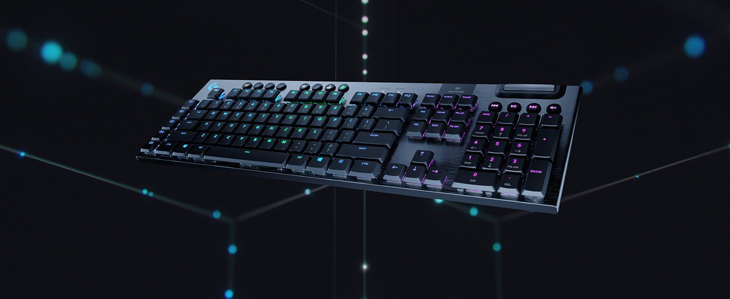 Logitech G915 LIGHTSPEED Teclado Gaming Mecánico Inalámbrico con teclas GL-Táctil de bajo perfil, LIGHTSYNC RGB, Diseño ultra delgado, 30 horas de ...