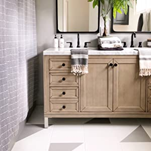 Gorgeous results of bathroom tile repainted using stenciling