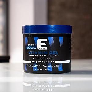 strong hold hair gel, vitamins, flake-free, volume, scented gel, fragrance, smells good hair gel