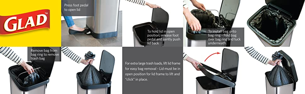 Glad. Trash Can. Bags. Waster Bin. Stainless Steel. Step.