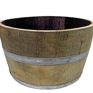 Amazoncom Mgp Genuine Oak Wood Half Wine Barrel Planter 27 W X