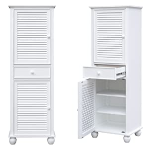 white cabinet,linen cabinet,tall narrow cabinet,cabinet for bathroom,bathroom storage,lingerie chest