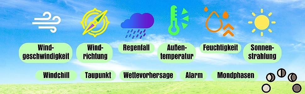 Sainlogic väderstation trådlös utomhussensor, väderförutsägelse, luftfuktighet, vindmätare, regn