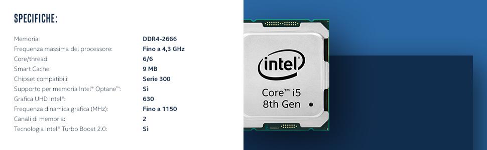 Processore Intel COre i5-8600K Di Ottava Generazione Sbloccato