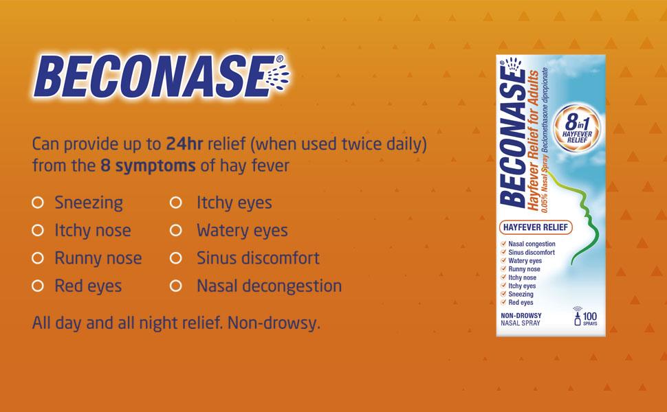 Beconase 8 symptoms of hay fever relief