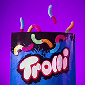 Trolli gummy candy, sour gummy worms