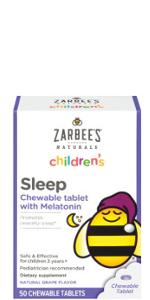 Zarbee's Naturals Children Sleep with Melatonin Supplement, Chewable Tablet
