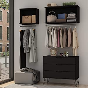 Modern 2-Piece Floating Open Closet with Shelf and Hanging Rod