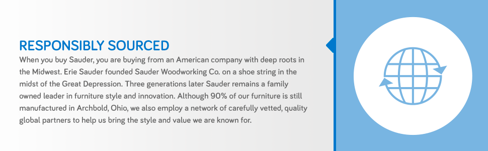 90% of Sauder furniture is made in Ohio, and we utilize a network of global partners.