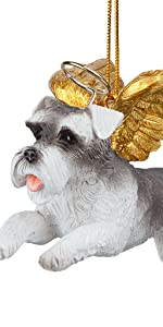 Design Toscano Honor the Pooch: Mini Schnauzer Holiday Dog Angel Ornament