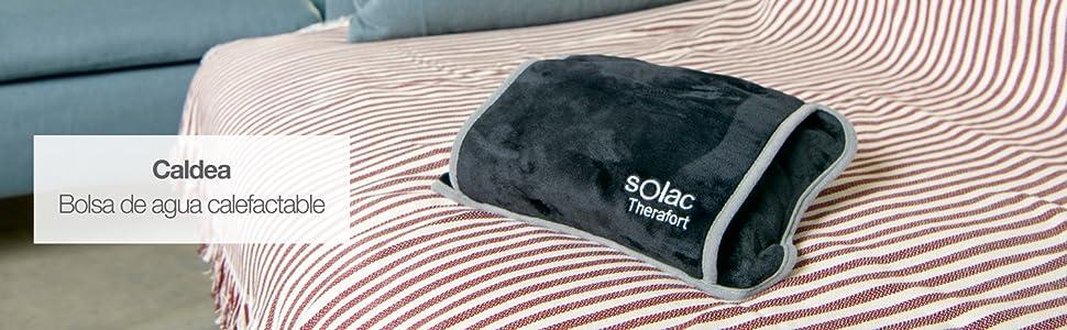 Solac CB8981 - Bolsa de agua térmica Caldea, 360 W, ergonómica, 120 minutos de autonomía, conector extraíble, tacto suave, tejido transpirable, color ...